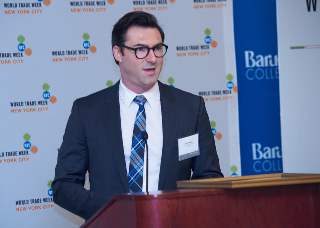 Daniel Lichi, Vice President of Channel Partner Strategy at Voxy, during his acceptance speech at the WTW NYC International Trade Awards